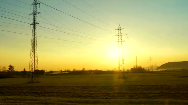 Heli Shot Of Electricity Pylons video