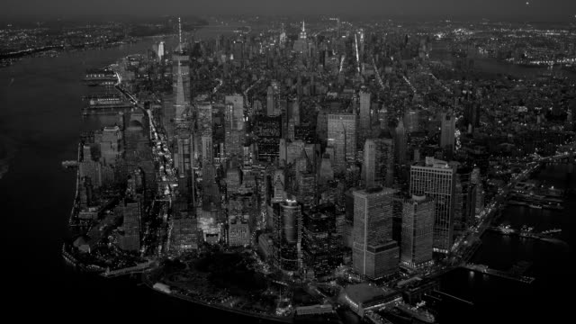 helicopter aerial shot of modern city skyline high rise buildings. urban metropolis background video