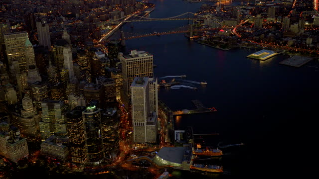helicopter aerial shot of new york city skyline landmark scenery. high rise real estate buildings video