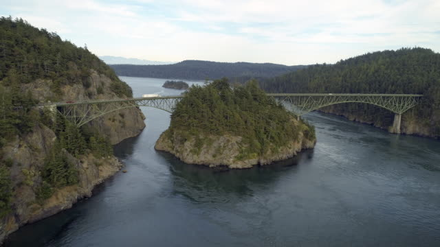 Helicopter Film Revealing Washington State Landmark Bridge Over Puget Sound at Deception Pass video