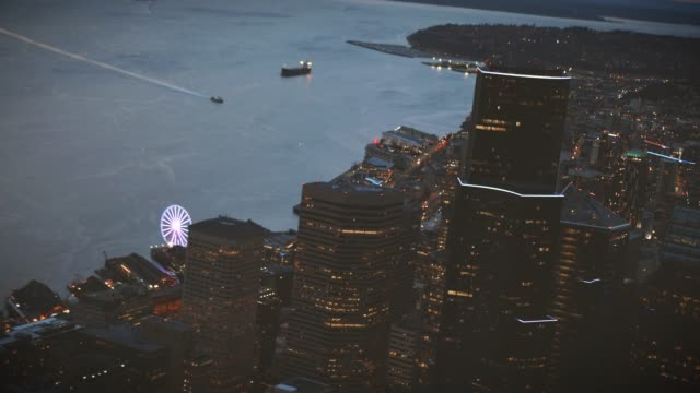 Helicopter Filming Above Seattle Skyscrapers video