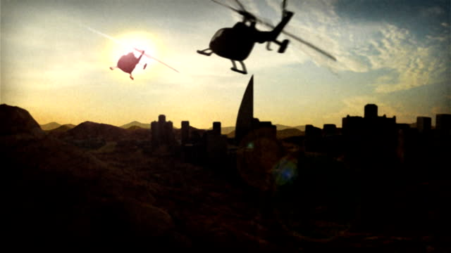 Helicopter Fly By Helicopters flying into the sunset with a city in the background. chasing stock videos & royalty-free footage