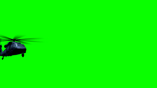 Helicopter fly on green Render of helicopter Black hawk fly on green screen helicopter stock videos & royalty-free footage