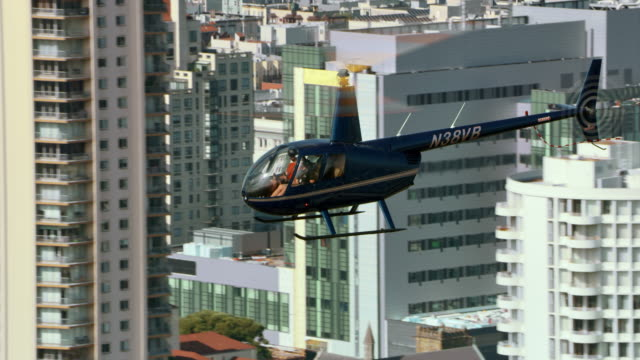 AERIAL Helicopter flying above the San Francisco Civic Center