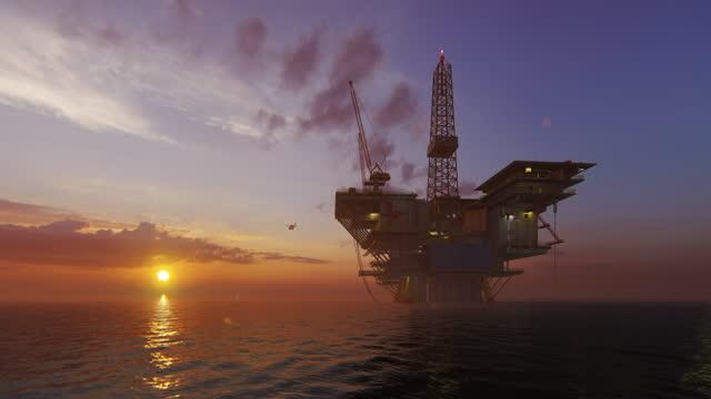 Helicopter Flying from Oil Rig Platform against Sunset, 4K