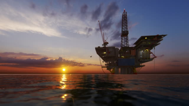Helicopter flying from oil rig platform towards magical sunset, 4K