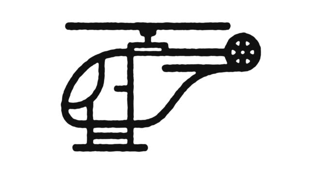 Helicopter Icon Animation Footage & Alpha Channel Helicopter outline icon animation footage/video. Hand drawn like symbol animated with motion graphic, can be used as loop item, has alpha channel and it's at 4K video resolution. medevac stock videos & royalty-free footage