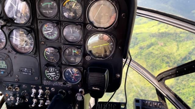 Helicopter navigation instruments. Flying over Barinas State. Venezuela