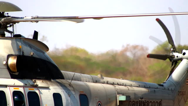 Helicopter rotors and tail rotors close-up