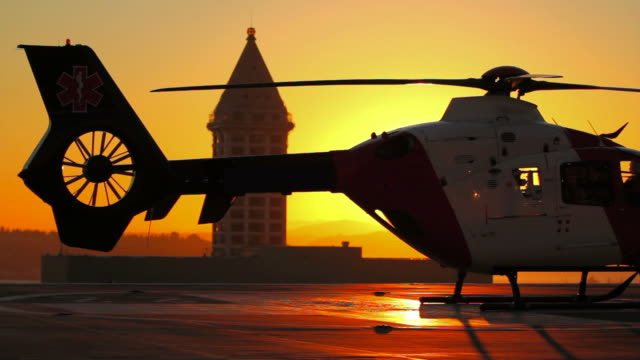 Helicopter Starting Sunset  medevac stock videos & royalty-free footage