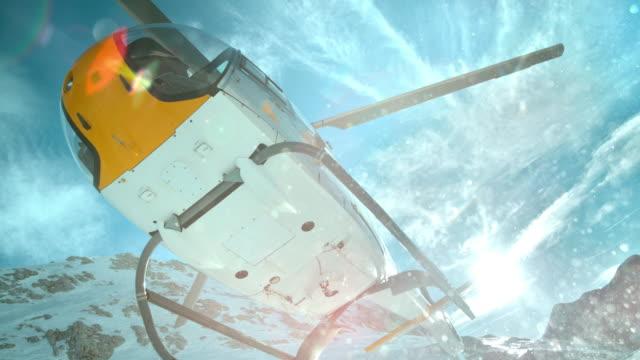 slo mo tu ヘリコプター離陸の太陽 - ヘリコプター点の映像素材/bロール
