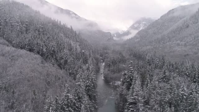 4K Helicopter View of Gray Fog on Forest Mountain Tops with Snow Flakes Falling on Valley River video