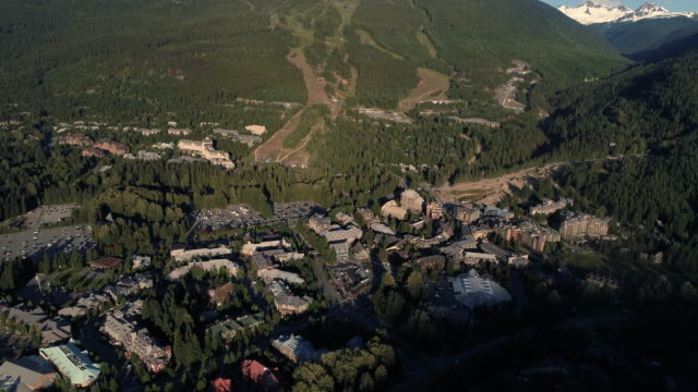 Helicopter View of Whistler Village and Blackcomb Mountain on Sunny Summer Day video