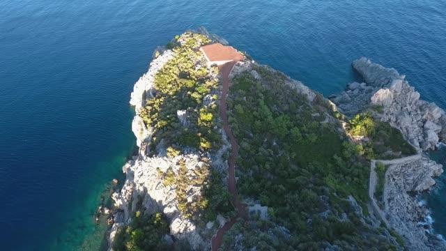 Helipad on a rocky island. Aerial view.