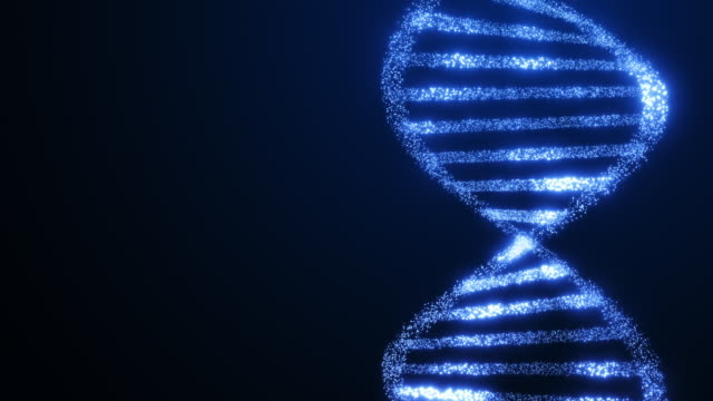 DNA helix structure glowing molecule rotating science blue background