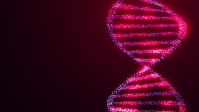 DNA helix structure glowing molecule rotating science red background