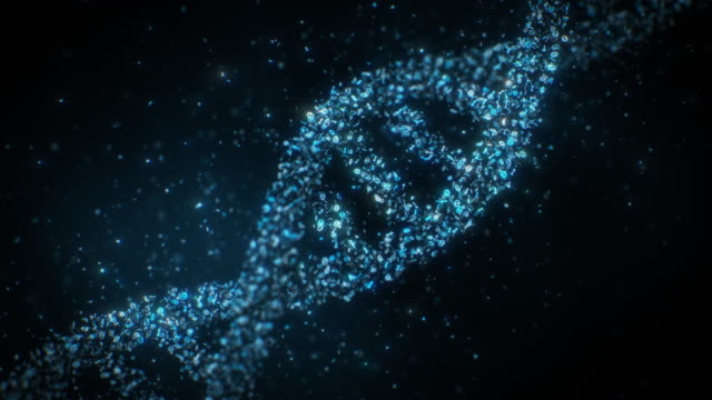 DNA Helixes Rotating made of binary code particles Slowly rotating five DNA helix made of binary code particles. biosensor stock videos & royalty-free footage
