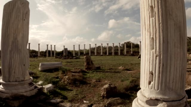 Hellenistic agora in surroundings of white antique columns  ruins ancient town Salamis east Cyprus Famagusta video