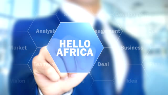 Hello  Africa, Man Working on Holographic Interface, Visual Screen video