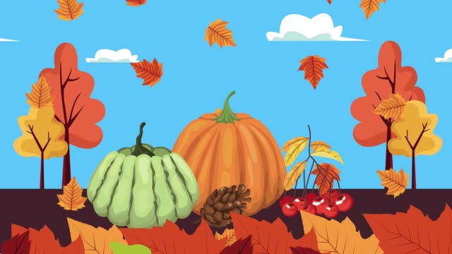 hello autumn animation with leafs and fruits in forest scene