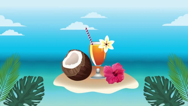 Bидео hello summer holiday poster with coconut and tropical cocktail cup