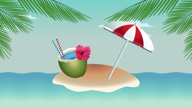 Bидео hello summer holiday poster with coconut cocktail and umbrella