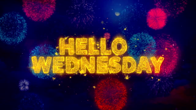 vídeos de stock e filmes b-roll de hello wednesday text on colorful firework explosion particles. - inbound marketing