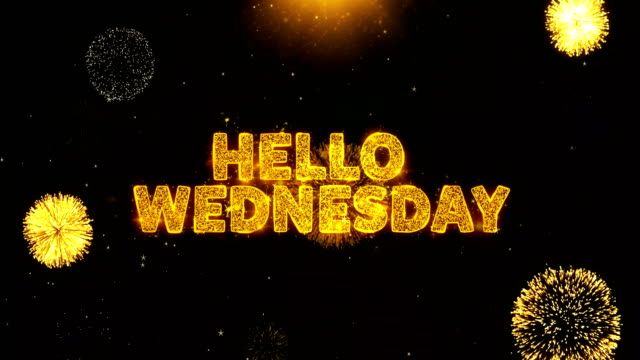 vídeos de stock e filmes b-roll de hello wednesday text on firework display explosion particles. - inbound marketing