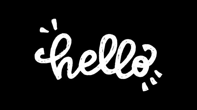vídeos de stock e filmes b-roll de hello white hand drawn lettering animation - texto datilografado