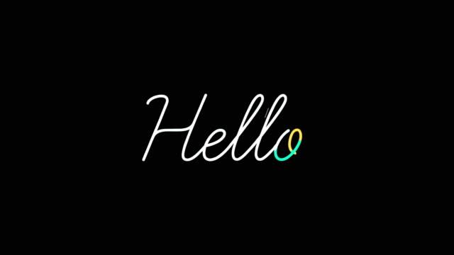 hallo wort motion grafik flache animation. - aufkleber stock-videos und b-roll-filmmaterial