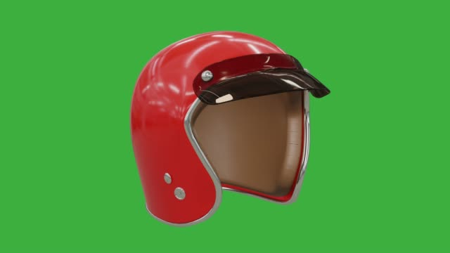 vídeos de stock e filmes b-roll de helmet for a motorcycle, rotates around its axis chroma key, life safety accessory, red with a plastic visor and leather inside.  photorealistic 3d rendering. - helmet motorbike