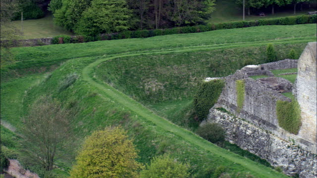 Helmsley Castle  - Aerial View - England,  North Yorkshire,  Ryedale District,  United Kingdom video