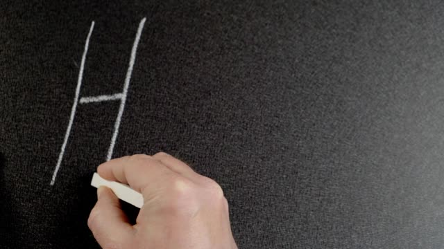 Help. Man hand writes the word Help by chalk on a blackboard. Conceptual chalk drawing