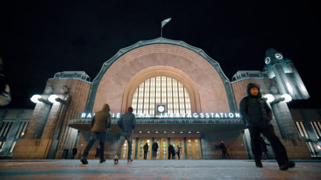 Helsinki central railway staion square Helsinki central railway staion square art deco architecture stock videos & royalty-free footage
