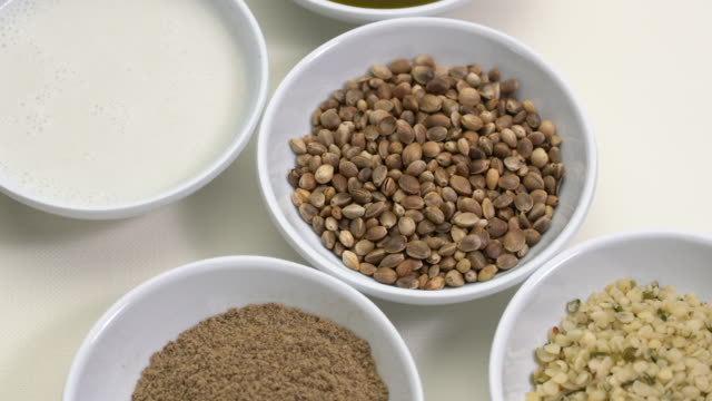 hemp seed products - cibi e bevande video stock e b–roll