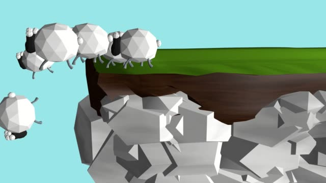 A her of sheep following the wise leader A herd of sheep approaches a cliff edge, one goes and checks and returns back, others don't follow him and jump down. cliffs stock videos & royalty-free footage