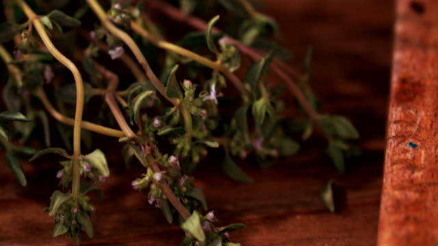 Herbs, spices and pork meat on table video