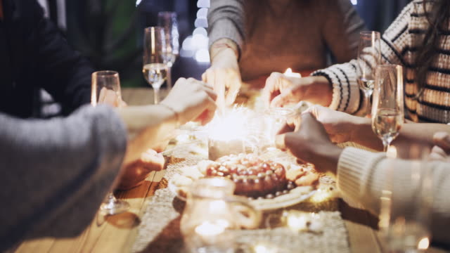 here's to us, may our friendship keep on shining - pranzo di natale video stock e b–roll
