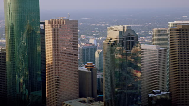 AERIAL Heritage Plaza in Downtown Houston, TX video