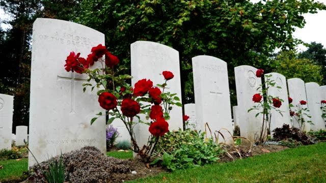 vidéos et rushes de sites du patrimoine de la 1ère guerre mondiale en belgique: buttes new british cemetery, des graves et des roses - première guerre mondiale