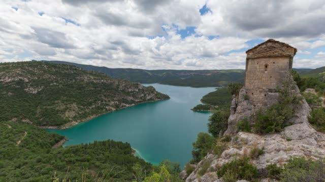 hermitage of la pertusa, lleida province, spain - lleida стоковые видео и кадры b-roll