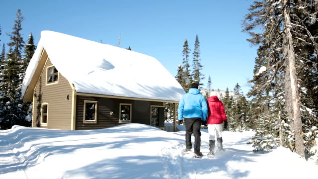 Heterosexual couple Walking With Snowshoes DSLR video of an heterosexual couple walking with snowshoes. They are walking towards a cabin in the forest. The sky is blue without any cloud and there is a lot of snow on the ground. chalet stock videos & royalty-free footage