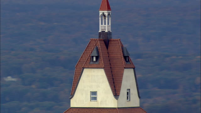 Heublein Tower  - Aerial View - Connecticut,  Hartford County,  United States This clip was filmed by Skyworks on HDCAM SR 4:4:4 using the Cineflex gimbal. Connecticut,  Hartford County,   United States connecticut stock videos & royalty-free footage