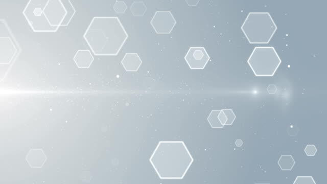 loop di sfondo della tecnologia esagonale della griglia medica delle particelle esagonali - esagono video stock e b–roll
