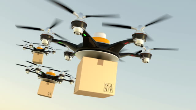 Hexacopter drones delivery cardboard packages in formation video
