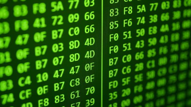 Hexadecimal program code scrolling video