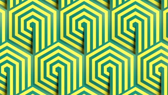 sechseck gestreift geometrische muster hintergrund nahtlose schleife animation. linie kunst vorlage. optische täuschung design. 3d render hd - ewigkeit stock-videos und b-roll-filmmaterial