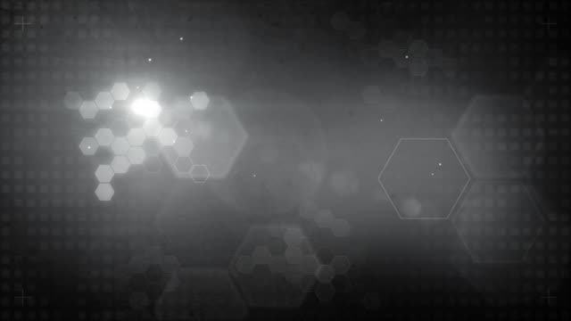 Hexagonal Designed Background Loop - Glowing Black and White (HD) video