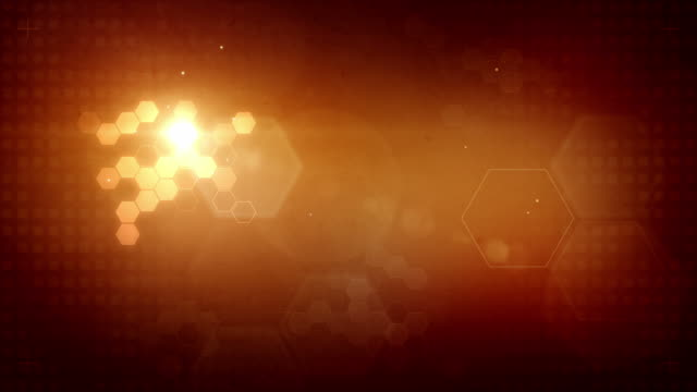 Hexagonal Designed Background Loop - Glowing Red Orange (Full HD) video