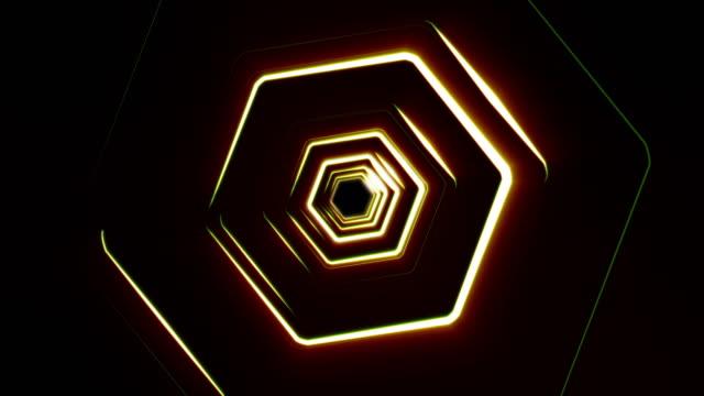hexagonal tunnel - esagono video stock e b–roll